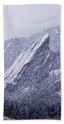 Snow Dusted Flatirons Boulder Colorado Bath Towel