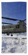 Snow Flies Up As A U.s. Army Ch-47 Bath Towel