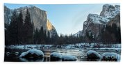 Snow On Large Rocks With El Capitan In The Background Bath Towel