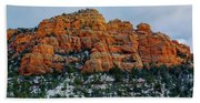 Snow On The Red Rocks Hand Towel