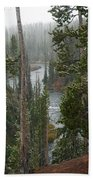 Snow On The Yellowstone River Bath Towel