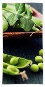 Snow Peas Or Green Peas Still Life Bath Towel