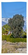 Snow-topped Mountains From Tahquitz Canyon Way In Palm Springs-california  Bath Towel