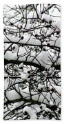 Snowfall On Branches Bath Towel