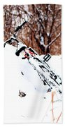 Snowing On The Bicycle Bath Towel