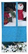 Snowman And Poinsettias - Frosty Christmas Bath Towel