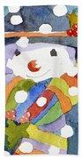 Snowman In Snow Bath Towel