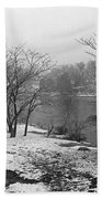 Snowy Day On Redd's Pond And Old Burial Hill Bath Towel