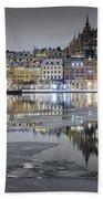 Snowy, Dreamy Reflection In Stockholm Bath Towel