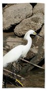 Snowy Egret Fishing Bath Towel