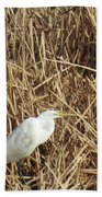Snowy Egret In Tall Grasses Bath Towel