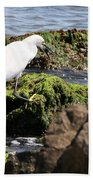 Snowy Egret  Series 2  3 Of 3  Adjusting Bath Towel