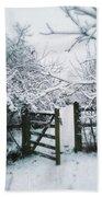 Snowy Garden Gate Three Bath Towel