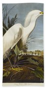 Snowy Heron Bath Towel