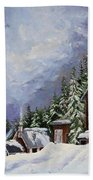 Snowy Mountain Resort Bath Towel
