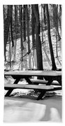Snowy Picnic Table In Black And White Bath Towel