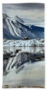 Snowy Reflections In Medicine Lake Bath Towel