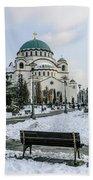 Snowy St. Sava Temple In Belgrade Hand Towel