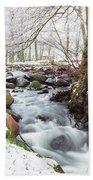 Snowy Stream Landscape Bath Towel