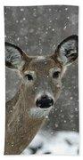 Snowy Winter Deer Bath Towel