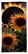 Solar Corona Over The Sunflowers Bath Towel