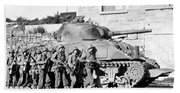 Soldiers And Their Tank Advance Bath Towel