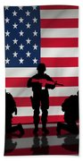 Soldiers On American Flag Bath Towel