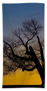 Solitary Tree At Sunset Bath Towel