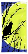 Solitary With Golden Moon Bath Towel