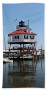 Solomons Island - Drum Point Lighthouse Reflecting Bath Towel