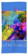 South Dakota Map Color Splatter 3 Bath Towel