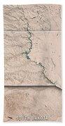 South Dakota State Usa 3d Render Topographic Map Neutral Border Bath Towel