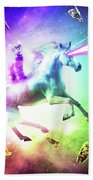 Space Cat Riding Unicorn - Laser, Tacos And Rainbow Bath Towel