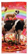 Space Pug Riding Cow Unicorn - Pizza And Taco Bath Towel