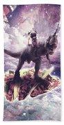 Space Pug Riding Dinosaur Unicorn - Pizza And Taco Hand Towel