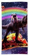 Space Pug Riding Dinosaur Unicorn - Taco And Burrito Hand Towel