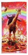 Space Sloth Riding Giraffe Unicorn - Pizza And Taco Bath Towel