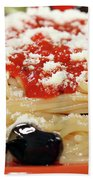 Spaghetti With Tomatoes And Olives Food Background Bath Towel