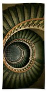 Spiral Staircase  In Green And Yellow Bath Towel