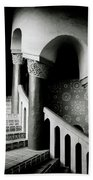Spiral Stairs- Black And White Photo By Linda Woods Bath Towel