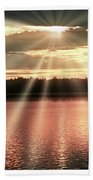 Spiritual Sunset Above A Mountain Lake Bath Towel