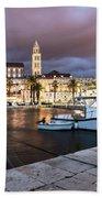 Split Harbor Night View In Croatia Bath Towel