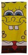 Sponge Square Yellow Brown Pants Cartoon Bath Towel
