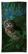 Spotted Owl In Ancient Forest Hand Towel
