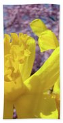 Spring Art Prints Yellow Daffodils Flowers Pink Blossoms Baslee Troutman Bath Towel