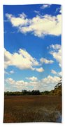 Spring Clouds Over The Marsh Bath Towel
