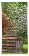 Spring Flowers And The Barn Bath Towel