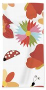 Spring Flowers Pattern Bath Towel