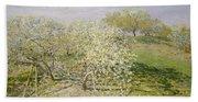Spring. Fruit Trees In Bloom Bath Towel