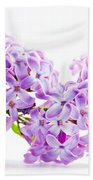 Spring Lilac Flowers Blooming Isolated On White Bath Towel